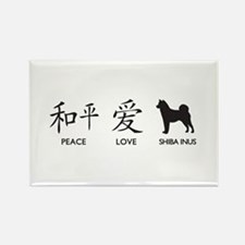 Japanese Peace, Love, Shibas Rectangle Magnet