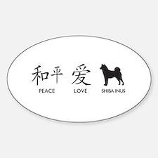 Japanese Peace, Love, Shibas Sticker (Oval)
