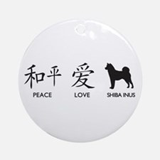 Japanese Peace, Love, Shibas Ornament (Round)