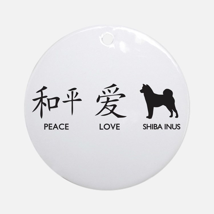 Japanese Peace, Love, Shibas Ornament (Round)