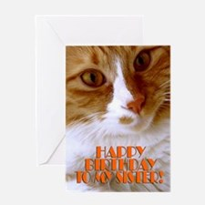 Happy Birthday Sister Sweet Cat Greeting Card