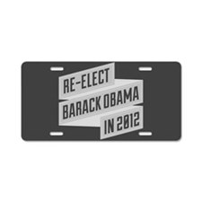 Angular Re-Elect Obama Banner Aluminum License Pla