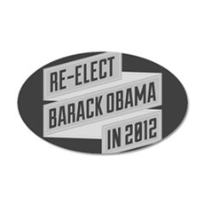 Angular Re-Elect Obama Banner 22x14 Oval Wall Peel