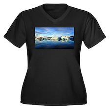 Iceberg Women's Plus Size V-Neck Dark T-Shirt