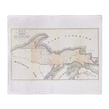 1849 Upper Peninsula Map Throw Blanket
