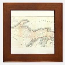 1849 Upper Peninsula Map Framed Tile