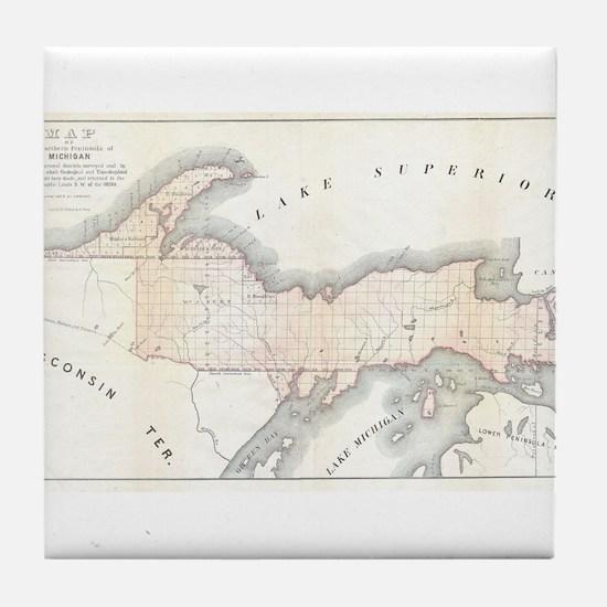 1849 Upper Peninsula Map Tile Coaster