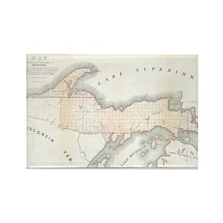 1849 Upper Peninsula Map Rectangle Magnet (10 pack