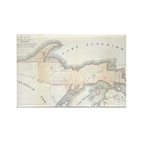 1849 Upper Peninsula Map Rectangle Magnet