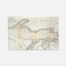 1849 Upper Peninsula Map Rectangle Magnet