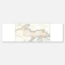 1849 Upper Peninsula Map Bumper Bumper Sticker
