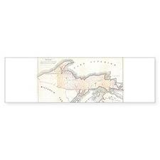 1849 Upper Peninsula Map Bumper Sticker