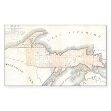 1849 Upper Peninsula Map Decal