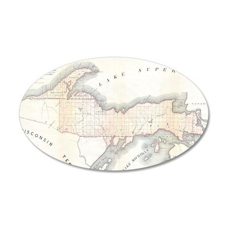 1849 Upper Peninsula Map 22x14 Oval Wall Peel