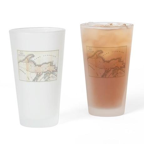 1849 Upper Peninsula Map Drinking Glass