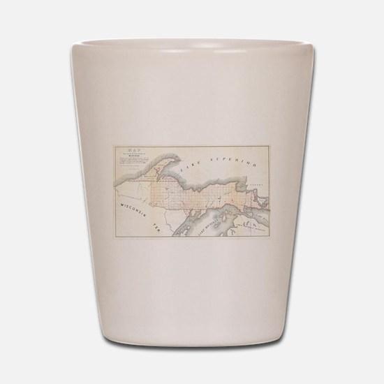 1849 Upper Peninsula Map Shot Glass