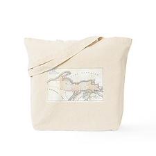 1849 Upper Peninsula Map Tote Bag