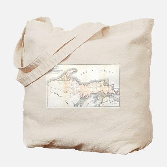1849 Upper Peninsula Map Tote Bag