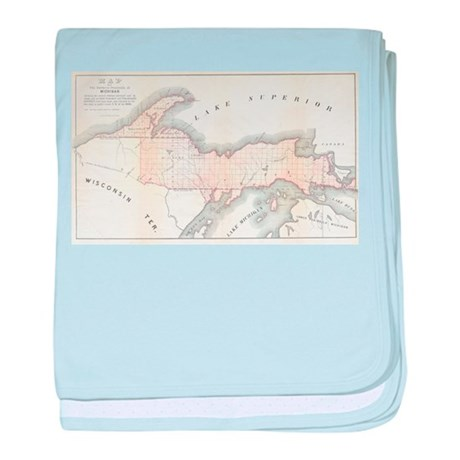 1849 Upper Peninsula Map baby blanket