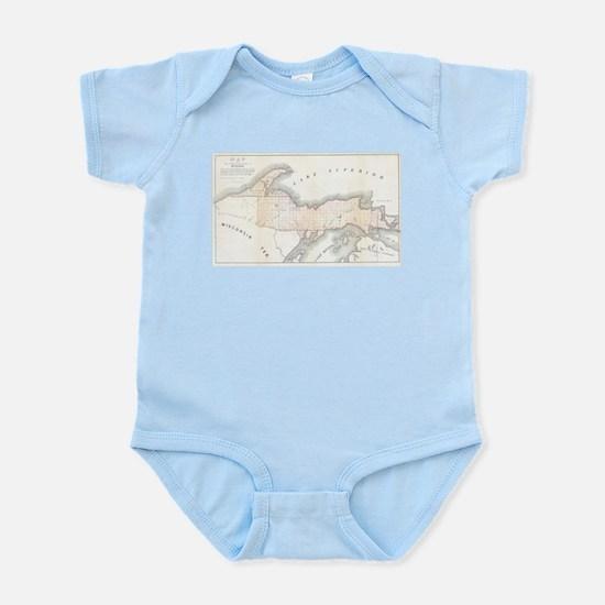 1849 Upper Peninsula Map Infant Bodysuit