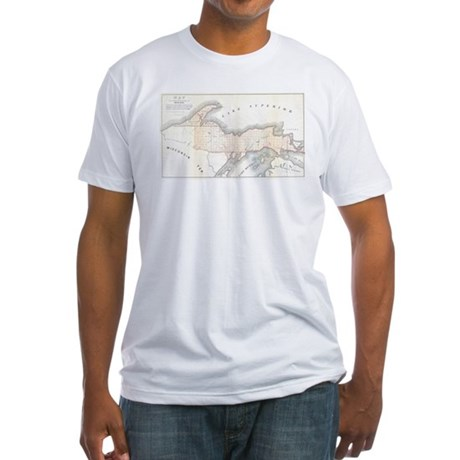 1849 Upper Peninsula Map Fitted T-Shirt