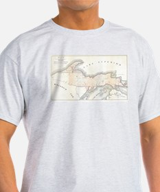 1849 Upper Peninsula Map T-Shirt