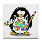 Artist penguin Tile Coaster
