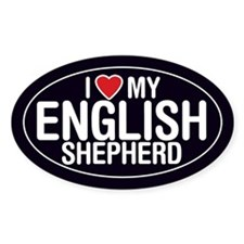I Love My English Shepherd Oval Sticker/Decal