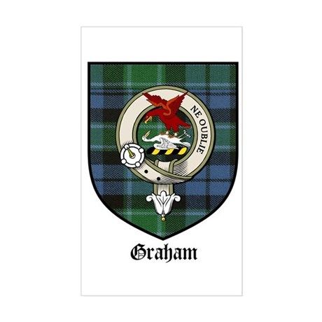 Graham Clan Crest Tartan Rectangle Sticker