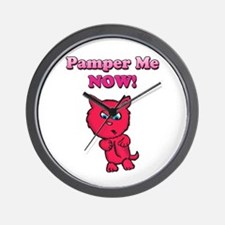 Pamper Me Now Kitty Wall Clock