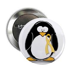 Yellow RIbbon penguin Button