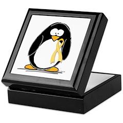 Yellow RIbbon penguin Keepsake Box