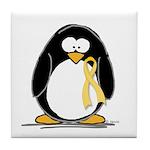 Yellow RIbbon penguin Tile Coaster