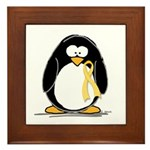 Yellow RIbbon penguin Framed Tile