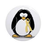 Yellow RIbbon penguin Ornament (Round)