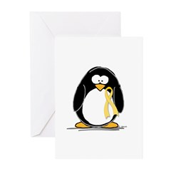 Yellow RIbbon penguin Greeting Cards (Pk of 10