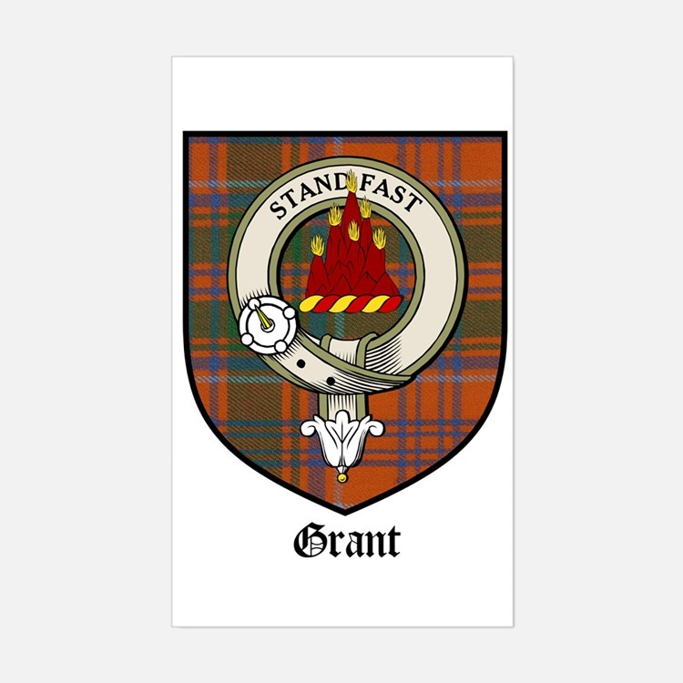 Grant Clan Crest Tartan Rectangle Decal