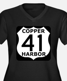 Copper Harbor 41 Women's Plus Size V-Neck Dark T-S