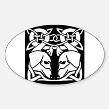 Irish Celtic Dachshund Dogs 8 Oval Decal