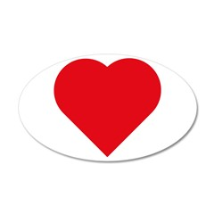 Plain Red Love Heart Symbol 22x14 Oval Wall Peel