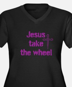 Jesus Take the Wheel Women's Plus Size V-Neck Dark
