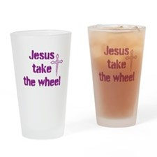 Jesus Take the Wheel Drinking Glass
