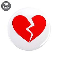 "Red Broken Heart Symbol 3.5"" Button (10 pack)"