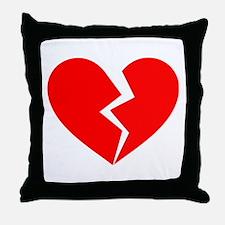 Red Broken Heart Symbol Throw Pillow
