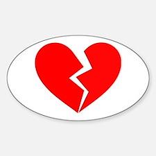 Red Broken Heart Symbol Sticker (Oval)