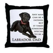 Black Lab Dad Throw Pillow