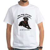 Black labrador Mens White T-shirts