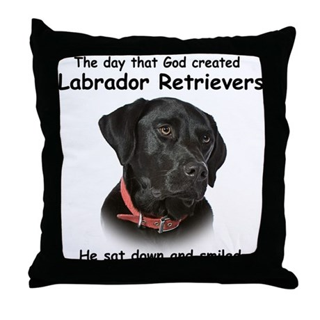 Black Lab Throw Pillow : Black Lab Throw Pillow by shopdoggifts