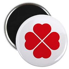 "Red Heart Love Clover Symbol 2.25"" Magnet (10 pack"