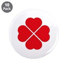 """Red Heart Love Clover Symbol 3.5"""" Button (10 pack)"""